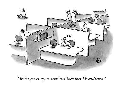 """""""We've got to try to coax him back into his enclosure."""" - New Yorker Cartoon-Frank Cotham-Premium Giclee Print"""