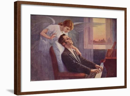 Weak Frederic Chopin Playing the Piano Shortly before His Death, Being Visited by an Angel--Framed Giclee Print