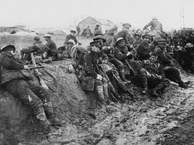 Weary British Troops Rest after Action at Aveluy Wood During the Battle of the Somme-Robert Hunt-Photographic Print