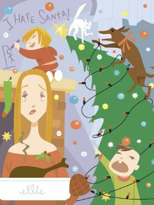 Weary Mother with Sons and Christmas Chaos at Home