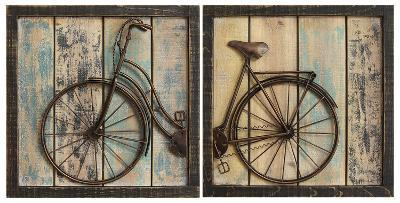 Weathered Bicycle Panel Pair--Home Accessories