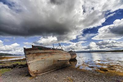 Weathered Boats Abandoned at the Water's Edge; Salem Isle of Mull Scotland-Design Pics Inc-Photographic Print
