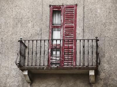 Weathered Shutters to Rusted Balcony of Old Building--Photographic Print