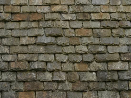 Weathered Stone Tile Roof Shingles Textured Background Photographic