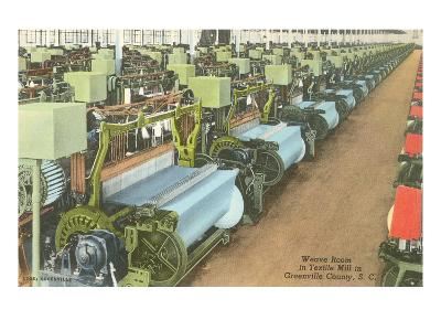 Weave Room in Textile Mill--Art Print