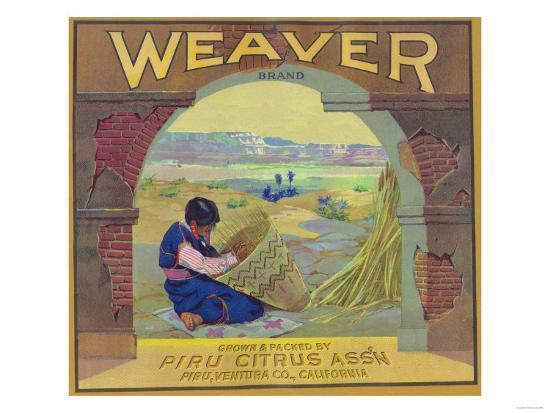 Weaver Orange Label - Piru, CA-Lantern Press-Art Print