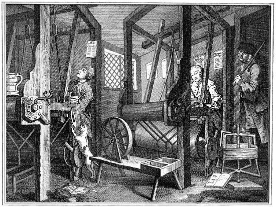 Weaving at Spitalfields, London, 1747-William Hogarth-Giclee Print