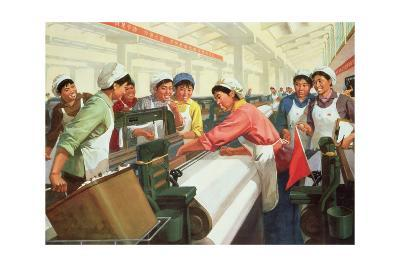 Weaving Cloth for the People, Propaganda Poster from the Chinese Cultural Revolution, 1970--Giclee Print