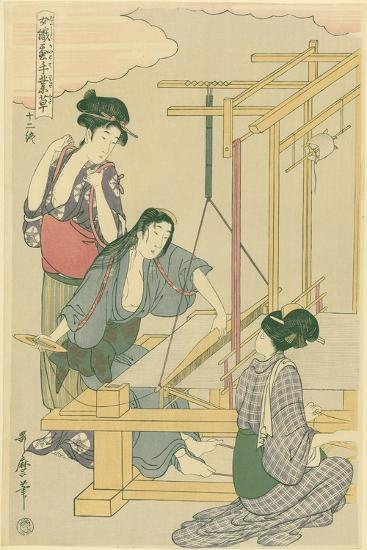 Weaving the Silk, No.12 from 'Joshoku Kaiko Tewaza-Gusa', C.1800-Kitagawa Utamaro-Giclee Print