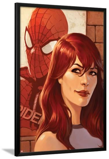 Web of Spider-Man No.11 Cover: Mary Jane Watson in front of a Poster-Jelena Djurdjevic-Lamina Framed Poster