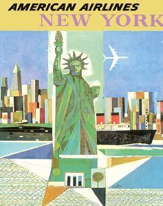 New York - American Airlines - Statue of Liberty by Webber