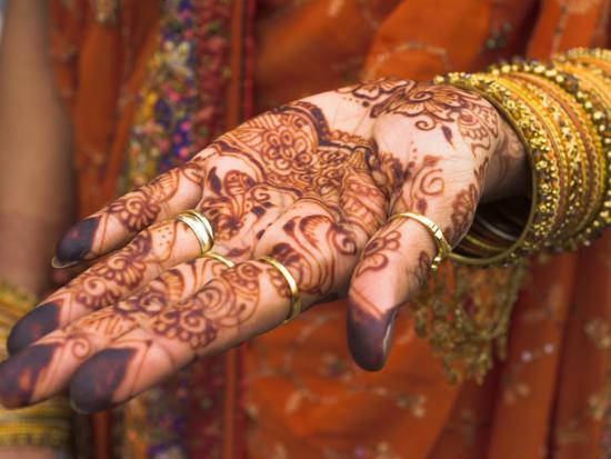 Wedding Guest Showing Henna Marking on Her Hand, Dubai, United Arab Emirates-Jane Sweeney-Photographic Print