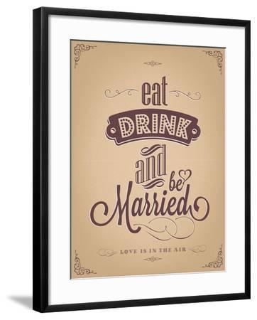 Wedding Invitation Vintage Typographic Background-Melindula-Framed Art Print
