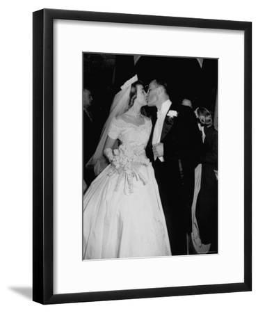 Wedding of Mary Freeman, Champion Swimmer, and John Kelly Kissing-George Skadding-Framed Photographic Print