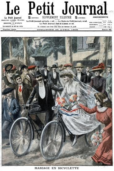 Wedding Party on Bicycles Led by the Bride and Bridegroom, Nice, France, 1909--Giclee Print