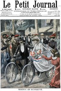 Wedding Party on Bicycles Led by the Bride and Bridegroom, Nice, France, 1909