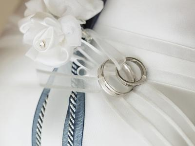 Wedding rings tied to pillow-Marnie Burkhart-Photographic Print