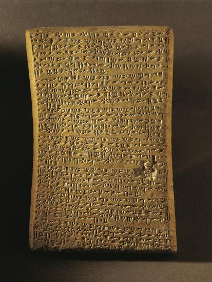 Wedge-Shaped Tablet Engraved with Ritual Text, Artifact from Ugarit--Photographic Print