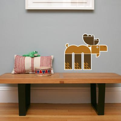 Letter M - Max the Moose Wall Decal
