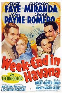Week-End in Havana, John Payne, Alice Faye, Carmen Miranda, Cesar Romero, 1941