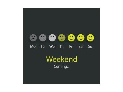 Weekend Coming - Design Concept with Smile Faces-bagotaj-Art Print
