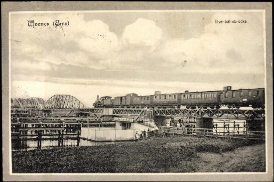 Weener Ems, Blick Auf Die Eisenbahnbrücke, Eisenbahn--Giclee Print