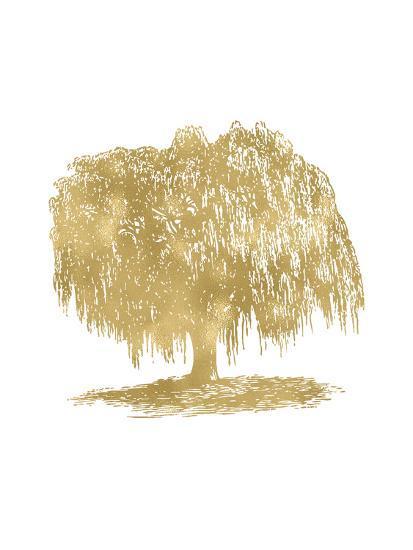 Weeping Willow Tree Golden White-Amy Brinkman-Art Print