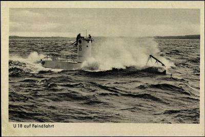 Wehrmacht, Kriegsmarine, U Boot, U 18, Feindfahrt--Giclee Print