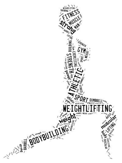 Weighlifting Pictogram With Black Wordings-seiksoon-Art Print