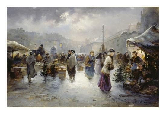 Weihnachtsmarkt L.Weihnachtsmarkt Am Hof In Wien Giclee Print By Emil Barbarini Art Com