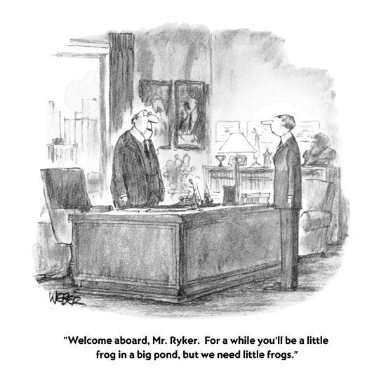 """""""Welcome aboard, Mr. Ryker.  For a while you'll be a little frog in a big ?"""" - New Yorker Cartoon-Robert Weber-Premium Giclee Print"""