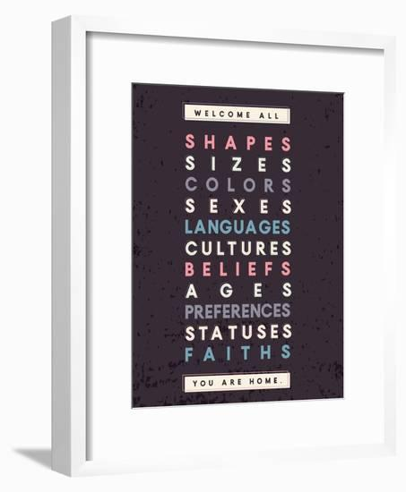 Welcome All Print In Grey-Kindred Sol Collective-Framed Art Print