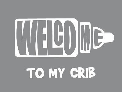 Welcome Crib Grey-Indigo Sage Design-Art Print