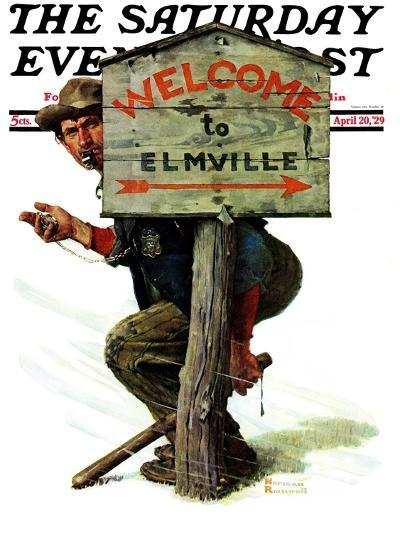"""Welcome to Elmville"" Saturday Evening Post Cover, April 20,1929-Norman Rockwell-Giclee Print"