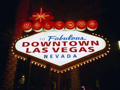 Welcome to Las Vegas Sign at Night, Las Vegas, Nevada, USA-Gavin Hellier-Photographic Print