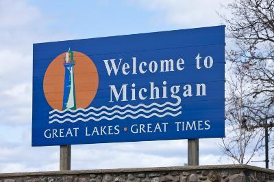 Welcome to Michigan Sign-Paul Souders-Photographic Print