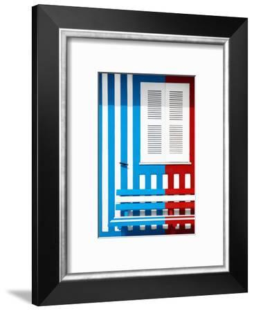 Welcome to Portugal Collection - Colorful Facade with Blue and Red Stripes-Philippe Hugonnard-Framed Photographic Print