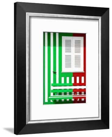 Welcome to Portugal Collection - Colorful Facade with Green and Red Stripes-Philippe Hugonnard-Framed Photographic Print
