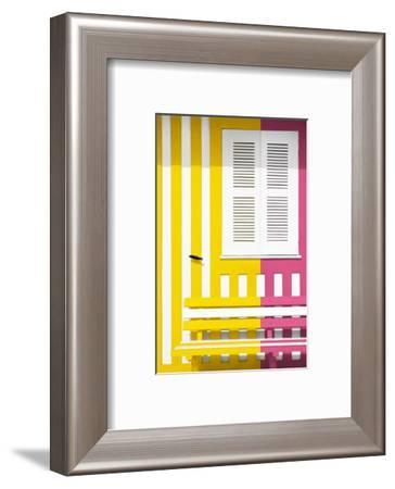 Welcome to Portugal Collection - Colorful Facade with Yellow and Pink Stripes-Philippe Hugonnard-Framed Photographic Print