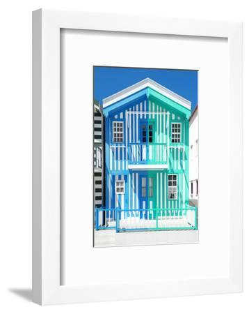 Welcome to Portugal Collection - Colorful Striped House Blue & Coral Green-Philippe Hugonnard-Framed Photographic Print