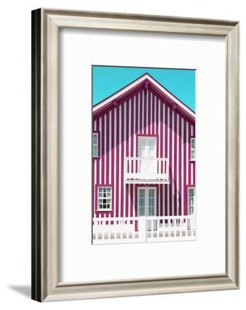 Welcome to Portugal Collection - Pink and White Striped Facade-Philippe Hugonnard-Framed Photographic Print