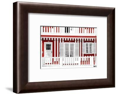 Welcome to Portugal Collection - Traditional Red Striped Facade-Philippe Hugonnard-Framed Photographic Print