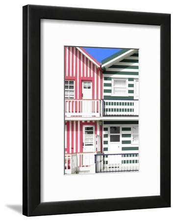 Welcome to Portugal Collection - Two Striped Facade Hot Pink & Olive Drab-Philippe Hugonnard-Framed Photographic Print