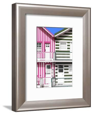 Welcome to Portugal Collection - Two Striped Facade Pink & Olive Drab-Philippe Hugonnard-Framed Photographic Print