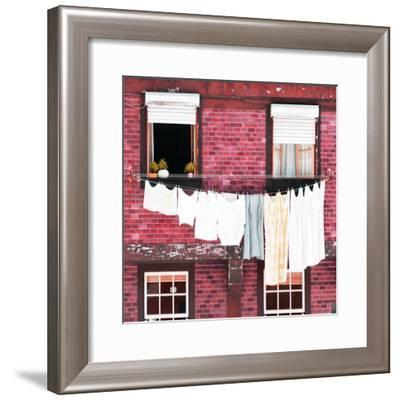 Welcome to Portugal Square Collection - Pink Brick Facade-Philippe Hugonnard-Framed Photographic Print