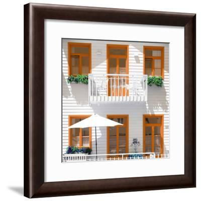 Welcome to Portugal Square Collection - White House and Orange Windows-Philippe Hugonnard-Framed Photographic Print