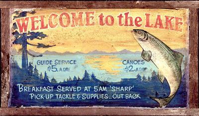 Welcome to the Lake Vintage--Wood Sign