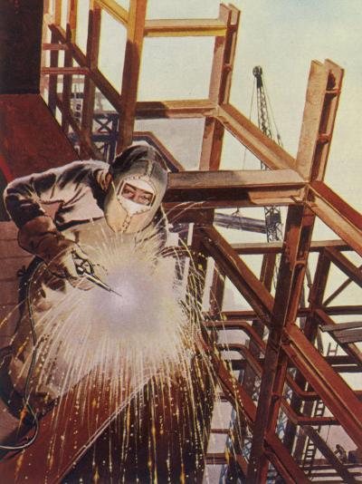 Welder Uses an Electric Arc- Welding Tool to Join the Metal Parts of a Steel Structure--Photographic Print