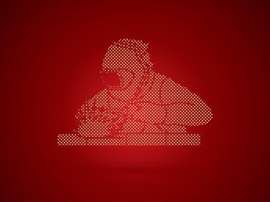 Welder Working Welding Designed Using Dots Pixels Graphic Vector-Arak Rattanawijittakorn-Art Print