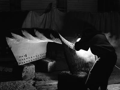 Welding a Dragline Bucket, Edgar Allen Steel Co, Sheffield, South Yorkshire, 1962-Michael Walters-Photographic Print